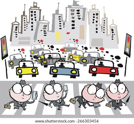 Vector cartoon of business men crossing busy city street with traffic waiting at pedestrian crossing.  The executives are absorbed in looking at their mobile phones.  - stock vector