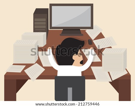 Vector cartoon of Businessman get knocked  during working - stock vector