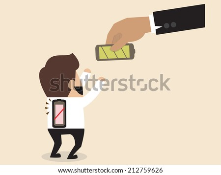 Vector cartoon of Businessman is given a new battery to replace empty one - stock vector