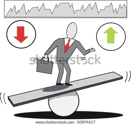 Vector cartoon of businessman on seesaw balancing market trends up and down. - stock vector