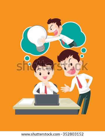 Vector cartoon of Businessman stealing idea from another man.Hand stealing - stock vector