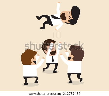 Vector cartoon of Businessmen throw up teammate to the air for congratulation - stock vector