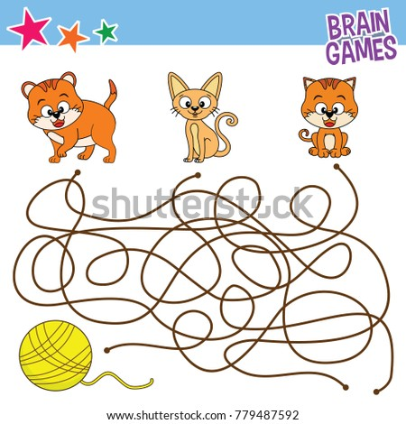 Vector Cartoon Of Cat Finding Game Kids Learning Coloring Page Or Book