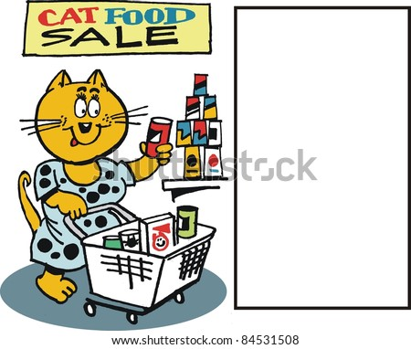 Vector cartoon of cat selecting food at supermarket - stock vector