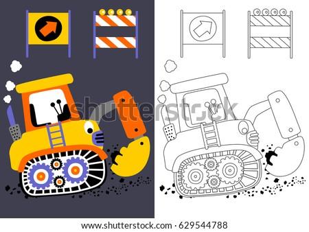 Vector Cartoon Digger Construction Signs Coloring Stock Vector ...