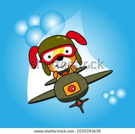vector cartoon of dog on the plane, animal soldier on jet