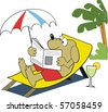 Vector cartoon of dog relaxing on deckchair with newspaper and drink. - stock photo
