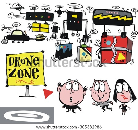 Vector cartoon of drones carrying parcels.  - stock vector