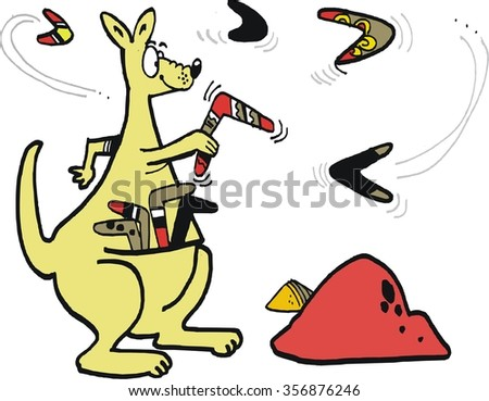 Vector cartoon of funny kangaroo with pouch full of boomerangs, practicing throwing.  - stock vector