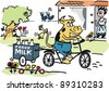 Vector cartoon of happy cow delivering milk on bicycle. - stock vector