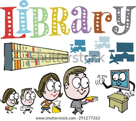 Vector cartoon of happy family group checking books out at library - stock vector