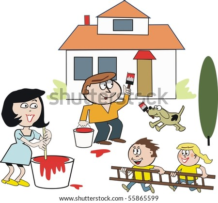 Vector cartoon of happy family painting and refurbishing house.