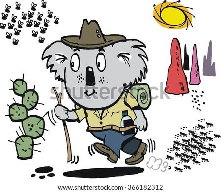 Vector cartoon of happy koala bear carrying bed roll, walking through Australian outback. - stock vector
