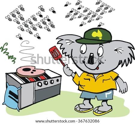 Vector cartoon of happy koala bear cooking steak on barbecue with flies in background. - stock vector