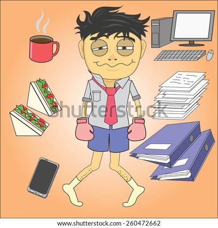 Vector cartoon of hard working employees sleepy and hungry - stock vector