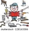 Vector cartoon of home handyman with workshop tools. - stock vector