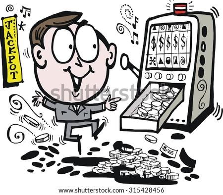 Vector cartoon of man celebrating after winning jackpot. - stock vector