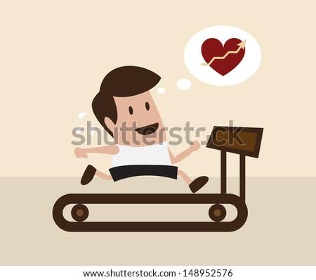 Vector cartoon of man jogging on treadmill - stock vector