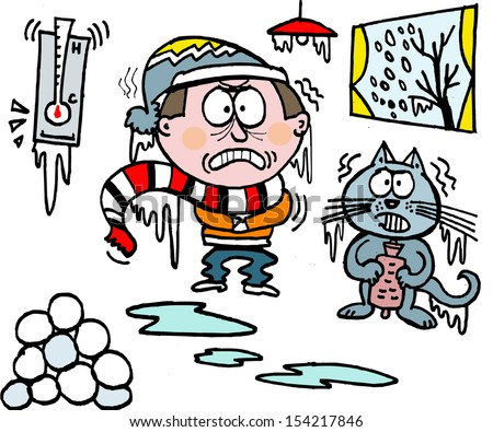 Vector cartoon of man shivering in winter with cold cat. - stock vector