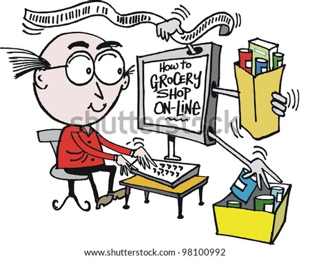 Vector cartoon of man shopping for groceries on internet - stock vector