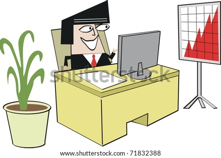 Vector cartoon of man sitting at computer desk with sales chart in office.