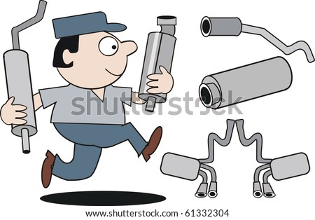 Vector cartoon of mechanic running with car mufflers. - stock vector