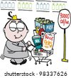 Vector cartoon of overweight man buying food in supermarket - stock photo