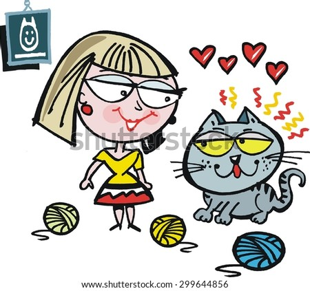 Vector cartoon of smiling woman with affectionate cat - stock vector