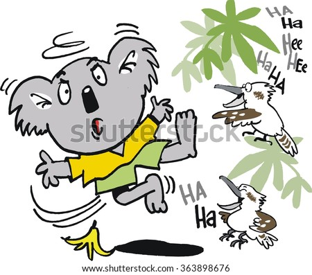 Vector cartoon of surprised koala bear falling over on banana skin, watched by laughing kookaburras.  - stock vector