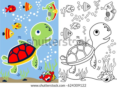 Vector Cartoon Of Turtle And Friends Underwater Coloring Book
