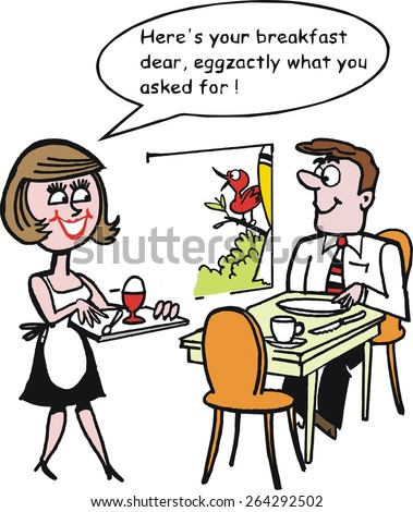 Vector cartoon of woman with boiled egg on tray serving breakfast to man sitting at table. - stock vector