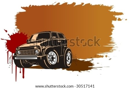 Vector cartoon off-road vehicle. More cartoon muscle cars see in my portfolio - stock vector
