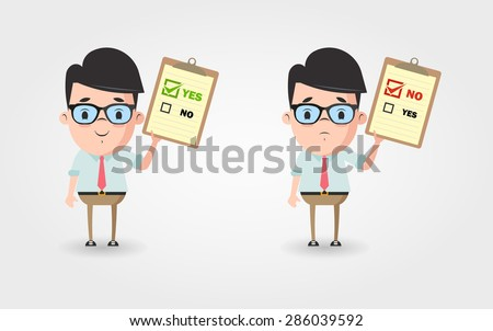 Vector Cartoon Office Workers with Contracts (Approved and Denied)  - stock vector