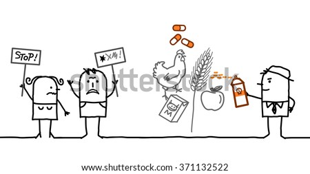 vector cartoon people saying NO to chemicals in food industry - stock vector