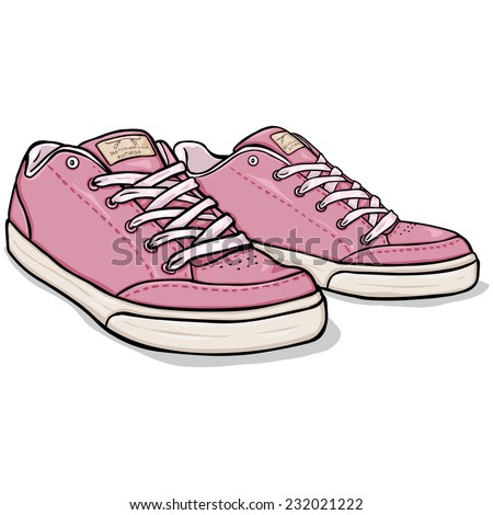 Vector Cartoon Pink Skaters Shoes - stock vector