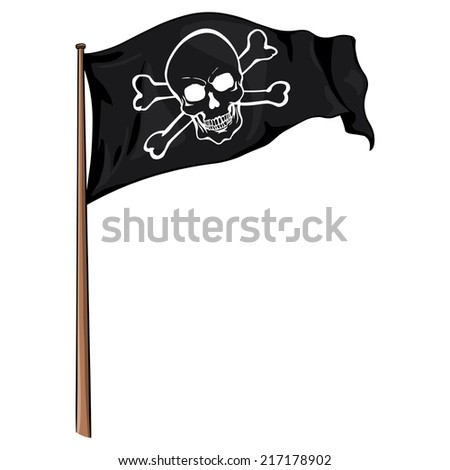Vector  Cartoon Pirate Flag Fluttering in the Wind. Line Art Skull and Cross Bones.