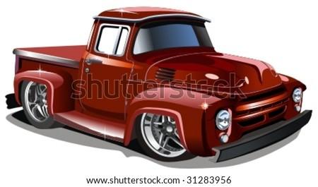 Vector cartoon retro hotrod. - stock vector