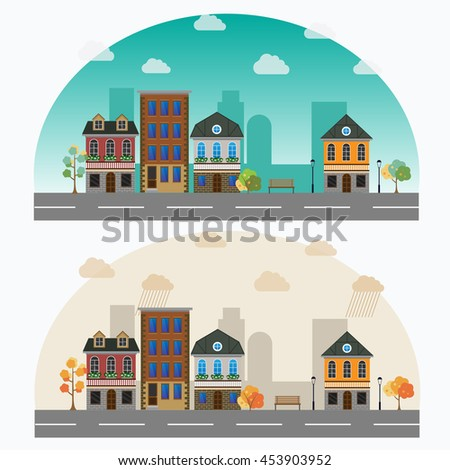 Vector cartoon retro illustration city houses facades landscape. - stock vector