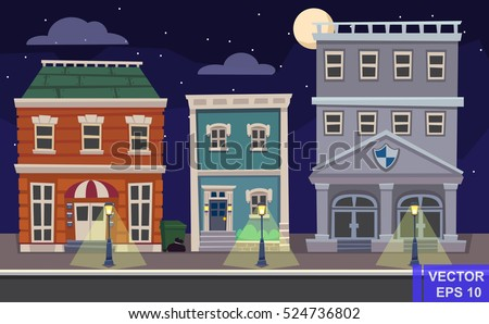 Vector cartoon retro illustration city houses facades landscape. Night cityscape.