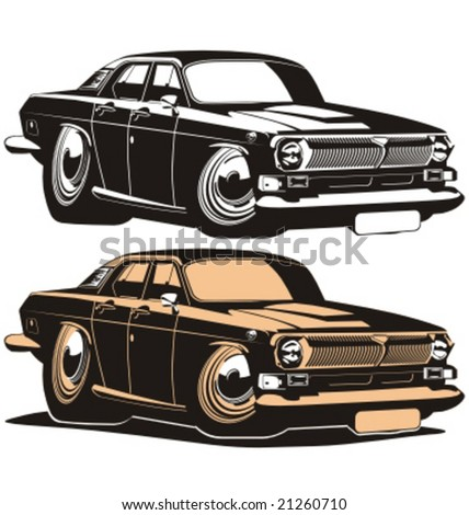 Vector cartoon retro muscle car. More cartoon cars see in my portfolio - stock vector
