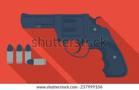 vector cartoon revolver - stock vector