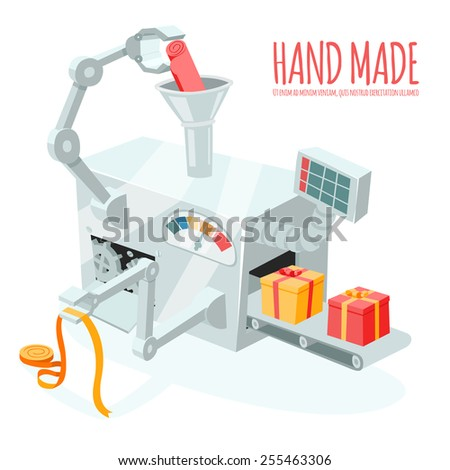 Vector cartoon robotic production of gift boxes. Packaging and wrapping, automation and handmade - stock vector