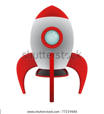 Vector Cartoon Rocket - stock vector