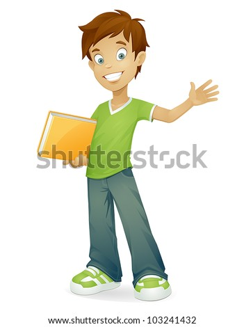 vector cartoon school boy with book smiling and waving isolated on white - stock vector
