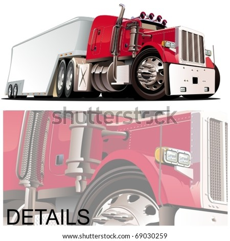 vector cartoon semi truck - stock vector