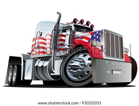 Semi Truck Front Vector Vector Cartoon Semi Truck