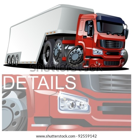 vector cartoon semi truck. one-click repaint - stock vector