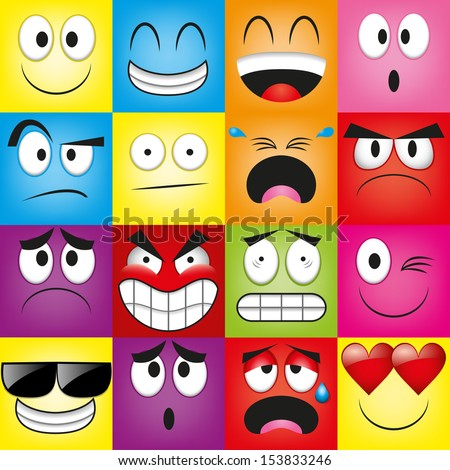 Vector Cartoon Set Of Different Cute Faces - stock vector