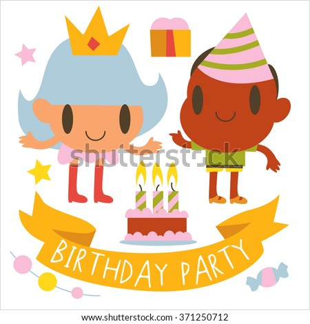 vector cartoon set of kids. Post cards,  games, book illustrations, logos or logotypes.  Birthday greetings, party banner or card. - stock vector
