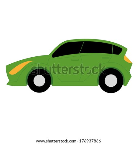 Vector Cartoon Simple Car On White Background
